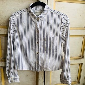 Urban Outfitters Cropped Striped Button Do…